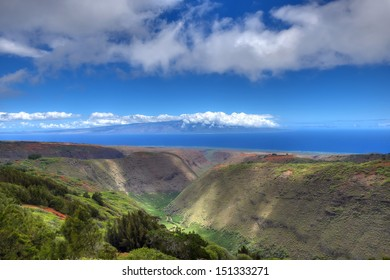 Maunalei Gulch (With Island of Moloka'i on Horizon) - Island of Lana'i - Hawaii