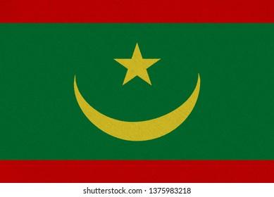 Mauritania fabric flag. Patriotic background. National flag of Mauritania