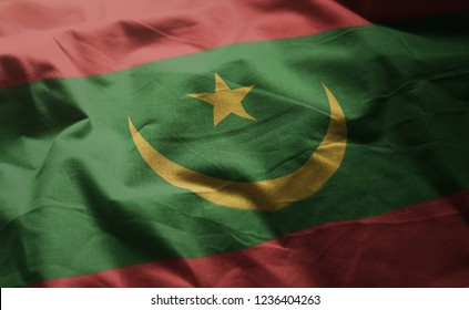 Mauritania Flag Rumpled Close Up
