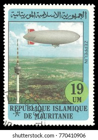 Mauritania - stamp printed 1982, Multicolor memorable Edition with Topic Aviation and Balloons, Bicentenary of the first ascent of man into the atmosphere, Airship