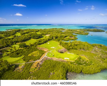 Mauritius beach aerial view of Ile Aux Cerf Beach island golf club on East Coast