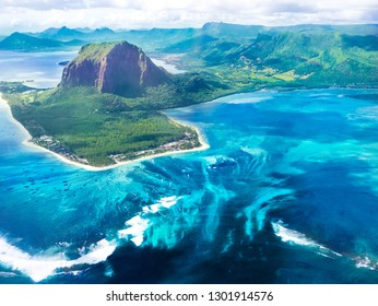 Mauritius with beautiful underwater waterfall and le Morne mountain