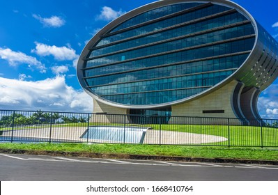Mauritius, December 2019 - Ellipse shaped building of Mauritius Commercial Bank, one of the oldest banks of the island.