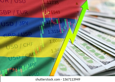 Mauritius flag and chart growing US dollar position with a fan of dollar bills