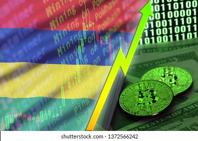 Mauritius flag and cryptocurrency growing trend with two bitcoins on dollar bills and binary code display