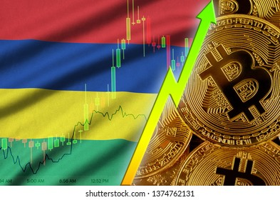 Mauritius flag and cryptocurrency growing trend with many golden bitcoins