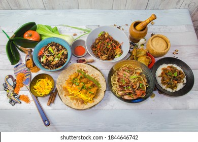 Mauritius food, several dishes for Mauritius island, served with decoration food and design spatula.
