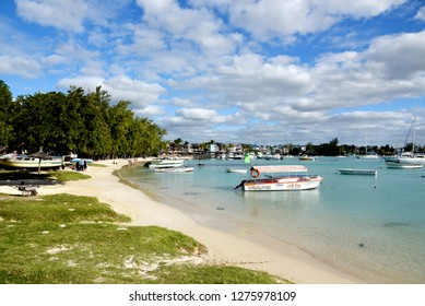 Mauritius , grand baie - august 2018 - view on the touristic fishing port