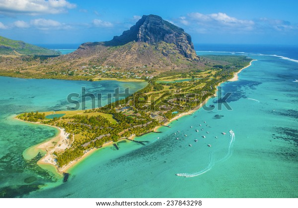 Mauritius from the helicopter