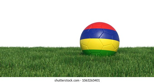 Mauritius Mauritians flag soccer ball lying in grass, isolated on white background. 3D Rendering, Illustration.