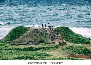 MAURITIUS - MAY 1, 2019: Tourists visit La Roche Qui Pleure, the rock who cries. This is a famous attraction in the island.