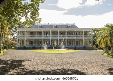 MAURITIUS, MAY 24, 2017. The front façade of an old colonial house Labourdonnais that is currently a museum in Mauritius on May 24th 2017.