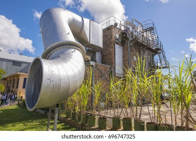 MAURITIUS, MAY 24, 2017. A great big machine with a large exhaustion pipe at sugar factory museum l'Aventure du Sucre in Mauritius on May 24th 2017.
