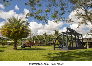MAURITIUS, MAY 24, 2017. The hydro-electric wheel of an old sugar cane factory that is currently a museum in Mauritius on May 24th 2017.