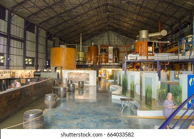 MAURITIUS, MAY 24, 2017.  Interiors of an old sugar cane factory that is currently museum l'Aventure du Sucre in Mauritius on May 24th 2017.