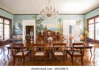 MAURITIUS, MAY 24, 2017. Interiors of an old colonial house Labourdonnais that is currently a museum in Mauritius on May 24th 2017.