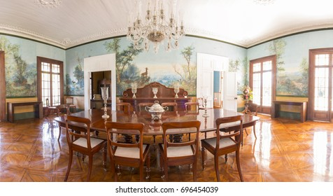 MAURITIUS, MAY 24, 2017. Interiors of an old colonial house Labourdonnais that is currently a museum in Mauritius on May 24th 2017. A wall painting representing a forest with stags.