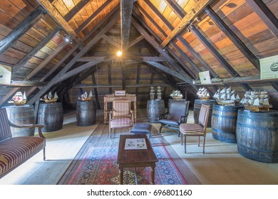 MAURITIUS, MAY 24, 2017. Miniature boats in the attic of St. Aubin colonial house in Mauritius on May 24th 2017.