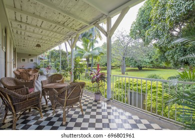 MAURITIUS, MAY 24, 2017. The porch of old colonial house St. Aubin that is currently used as a restaurant in Mauritius on May 24th 2017.