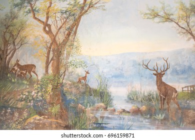 MAURITIUS, MAY 24, 2017. A wall painting representing a forest with stags inside an old colonial house Labourdonnais that is currently a museum in Mauritius on May 24th 2017.