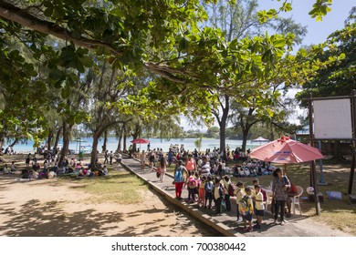MAURITIUS, MAY 25, 2017. Lots of school children on an excursion in in Blue Bay Marine Park in Mauritius on May 25th 2017.