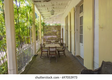MAURITIUS, MAY 25, 2017.  Porch of the old colonial house Eureka that is currently a museum in Mauritius on May 25th 2017.