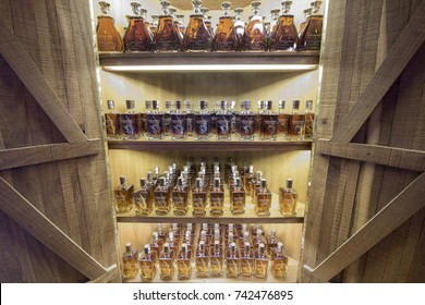 MAURITIUS, MAY 31, 2017. Lots of bottles of Chamarel rum made of sugar cane in Chamarel rum distillery and factory Outlet in Mauritius on May 31st 2017.