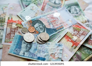 Mauritius money Mauritius Rupee (MUR) notes and coins close up