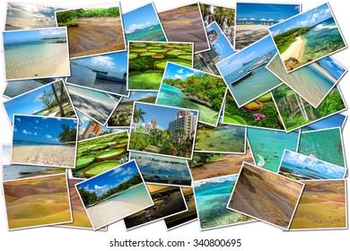 Mauritius pictures collage of different famous locations landmark of Republic of Mauritius, Indian Ocean, Africa.