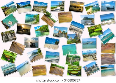 Mauritius pictures collage of different famous locations landmark of Republic of Mauritius, Indian Ocean, Africa. Isolated on white background.