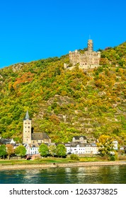Maus Castle above the village of Wellmich in the Middle Rhine Valley, Germany