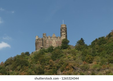 Maus Castle is a castle above the village of Wellmich in Rhineland-Palatinate, Germany Photo taken Sept 2016