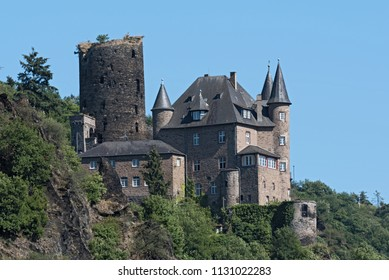 The Maus Castle in the Middle Rhine Valley near Sankt Goarshausen, Germany.
