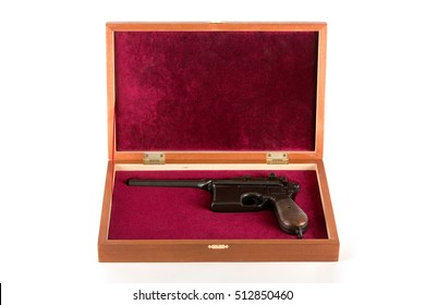 Mauser in gift box on white background