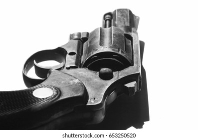 Mauser gun close up in black and white colors close up