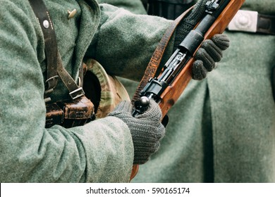 Mauser rifle in the hands of German soldiers during the Second World War. Reconstruction