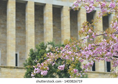 Mausoleum of Ataturk (Anitkabir) and cherry blossoms in springtime - Ankara, Turkey