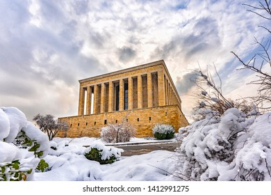 Mausoleum of Ataturk (Anitkabir) in a snowy day - Ankara, Turkey