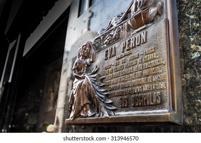 Mausoleum at Cementerio de La Recoleta on August 18, 2015 in Buenos Aires, Agentina. Cemetery in Recoleta, the grave site of Evita Peron, the first lady of the former Argentina president Juan Peron.