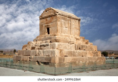 Mausoleum of Cyrus The Great against blue sky in Pasargadae of Shiraz, Iran.