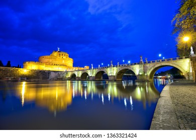 Mausoleum of Hadrian or Castel Sant'Angelo and bridge in Rome, Italy