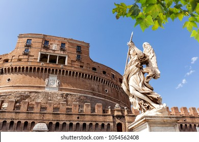 The Mausoleum of Hadrian, usually known as Castel Sant'Angelo (Castle of the Holy Angel) and Sant' Angelo Bridge. Rome. Italy.
