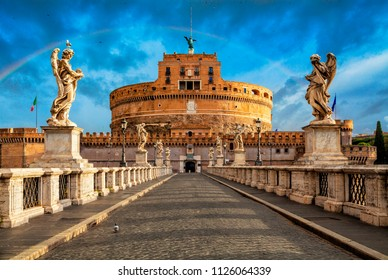 Mausoleum of Hadrian, usually known as Castel Sant Angelo and the Sant Angelo bridge. Rome architecture and landmark.