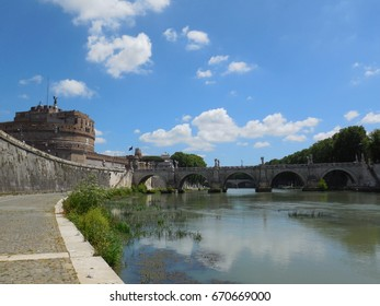 Mausoleum of Hadrian, usually known as Castel Sant'Angelo and Ponte Sant'Angelo. Rome Italy