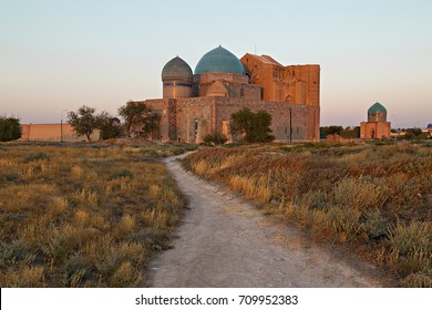 Mausoleum of Khoja Ahmed Yasawi at the sunset , in the city of Turkestan, Kazakhstan.