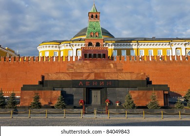 The Mausoleum of Lenin and Kremlin wall  on Red Square, Moscow, Russia.