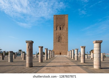 The Mausoleum of Mohammed V is a historical building located on the opposite side of the Hassan Tower on the Yacoub al-Mansour esplanade in the capital city of Rabat, Morocco. - Shutterstock ID 1287837871