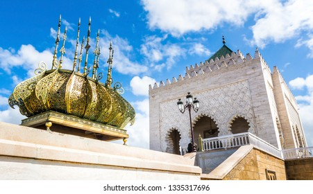 The Mausoleum of Mohammed V is a historical building located on the opposite side of the Hassan Tower on the Yacoub al-Mansour esplanade in Rabat, Morocco. Artistic picture. Beauty world.