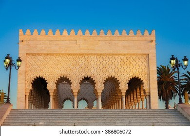 Mausoleum of Mohammed V at sunset. Rabat, Morocco