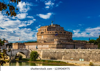 The Mausoleum of Roman Emperor Hadrian, usually known as Castel Sant'Angelo, with the eponymous bridge and the river Tiber, in Rome, near the Vatican. It was used by the popes as a fortress and castle
